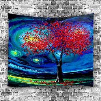 Oil Painting Life of Tree Space Wall Art Tapestry - DEEP BLUE W59 INCH * L51 INCH