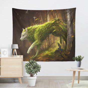 Animal Wall Hanging Forest Wolf Printed Tapestry - BROWN W79 INCH * L59 INCH