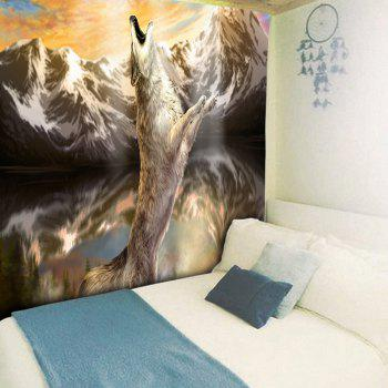 Wall Hanging Snow Mountain Roaring Wolf Print Tapestry - BROWN W51 INCH * L59 INCH