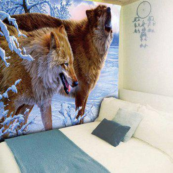 Wall Hanging Snowfield Wolves Animal Tapestry - BROWN W51 INCH * L59 INCH