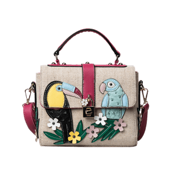 Flower and Parrot Patches  Weave Crossbody Bag -  RED