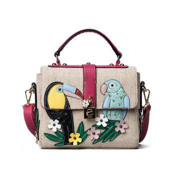 Flower and Parrot Patches  Weave Crossbody Bag - RED RED