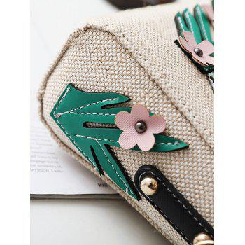 Flower and Parrot Patches  Weave Crossbody Bag -  WHITE