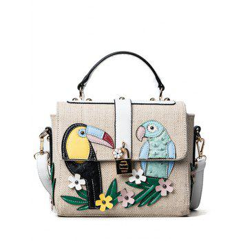 Flower and Parrot Patches  Weave Crossbody Bag - WHITE WHITE