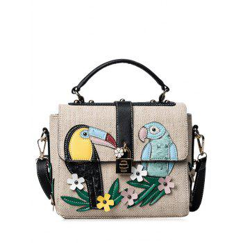 Flower and Parrot Patches  Weave Crossbody Bag - BLACK BLACK