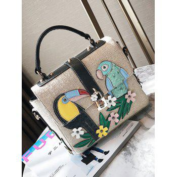 Flower and Parrot Patches  Weave Crossbody Bag -  BLACK