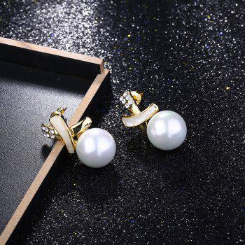 Faux Pearl Rhinestone Tiny Drop Earrings - GOLDEN