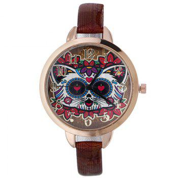 Flower Cat Faux Leather Number Watch