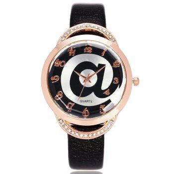 Symbol Face Faux Leather Number Watch
