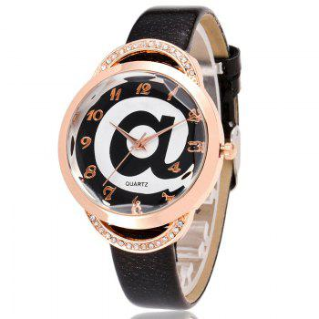 Symbol Face Faux Leather Number Watch - BLACK
