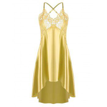 High Low Crossback Satin Slip - YELLOW 2XL