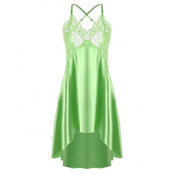 High Low Crossback Satin Slip - GRASS GREEN 2XL