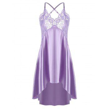 High Low Crossback Satin Slip - LIGHT PURPLE 2XL