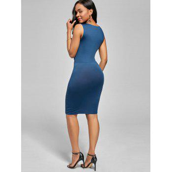 Plunging V Neck Drape Sleeveless Bodycon Dress - Bleu Glacé L