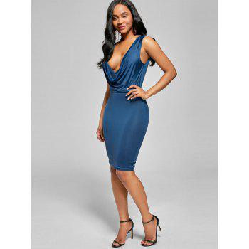 Plunging V Neck Drape Sleeveless Bodycon Dress - Bleu Glacé M