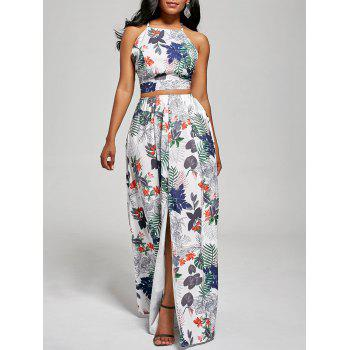Printed Backless Crop Top and Slit Maxi Skirt - WHITE WHITE
