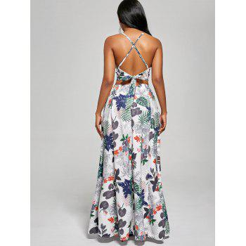 Printed Backless Crop Top et Slit Maxi Jupe - Blanc L