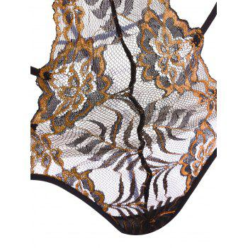 Lace Strappy Caged Lingerie Teddy - EARTHY L