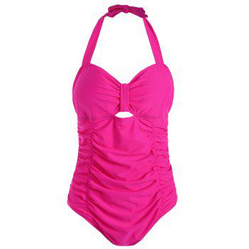 Halter Ruched Plus Size One Piece Swimsuit