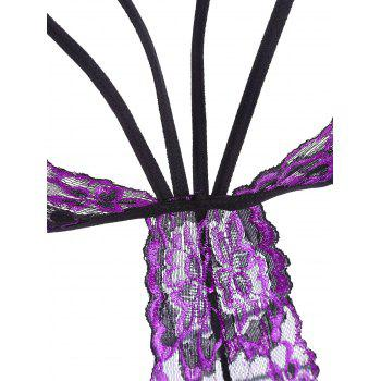 Lace Strappy Caged Lingerie Teddy - PURPLE 2XL