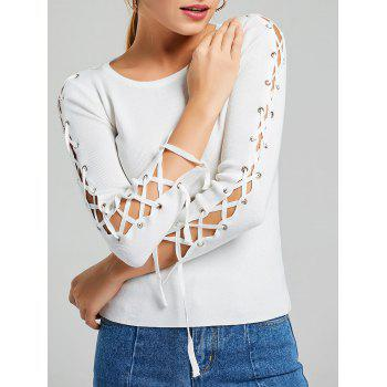 Lace Up Long Sleeve Ribbed Knit Sweater