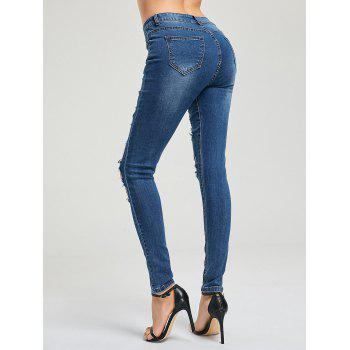Cat's Whisker Ripped Jeans - BLUE BLUE