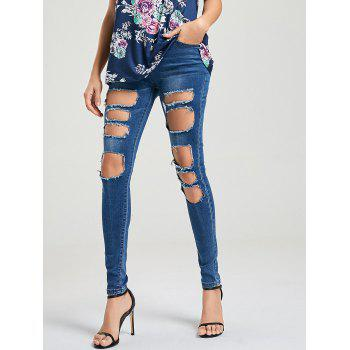 Cat's Whisker Ripped Jeans - BLUE S