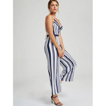 Striped Backless Wide Leg Jumpsuit - CADETBLUE S