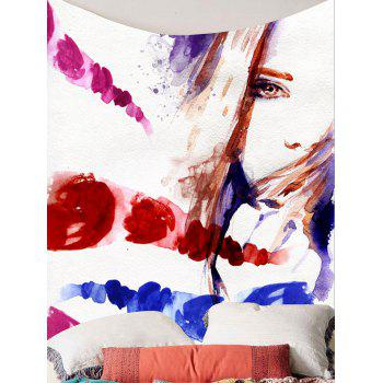 Oil Painting Girl Wall Hanging Tapestry - COLORFUL W59 INCH * L51 INCH