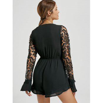 Plunging Neck Long Sleeve Chiffon Romper - BLACK L