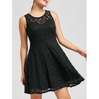 Sleeveless Lace Mini Cocktail Dress - BLACK M