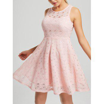 Sleeveless Lace Mini Cocktail Dress - PINK 2XL