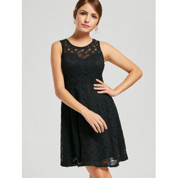 Sleeveless Lace Mini Cocktail Dress - BLACK XL