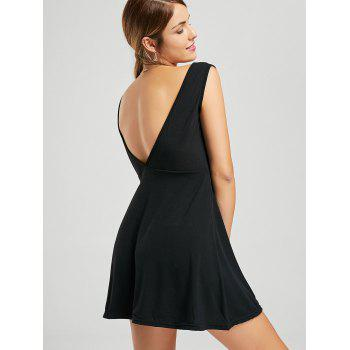 Plunging Neck Sleeveless Mini Cocktail Dress - BLACK BLACK