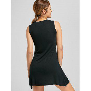 Sleeveless Keyhole Mock Neck Mini Dress - BLACK BLACK