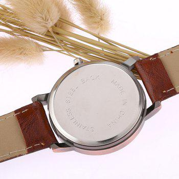 World Map Face Faux Leather Watch - Brun