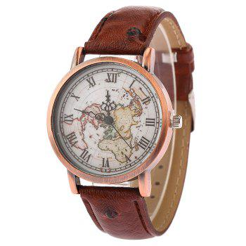 World Map Face Faux Leather Watch
