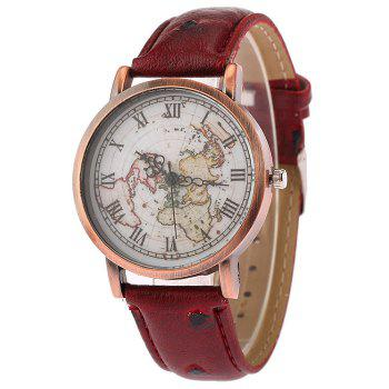World Map Face Faux Leather Watch - WINE RED WINE RED