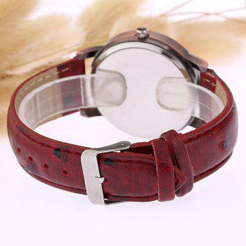 World Map Face Faux Leather Watch -  WINE RED