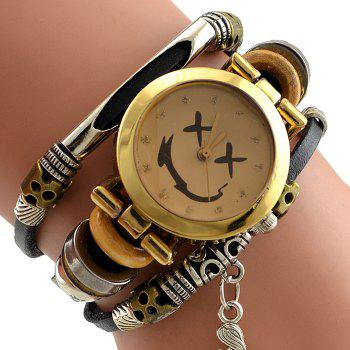 Mermaid Faux Leather Strap Bracelet Watch -  BLACK