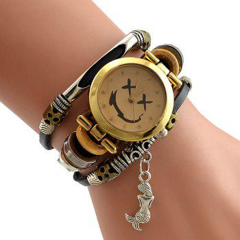 Mermaid Faux Leather Strap Bracelet Watch - BLACK BLACK