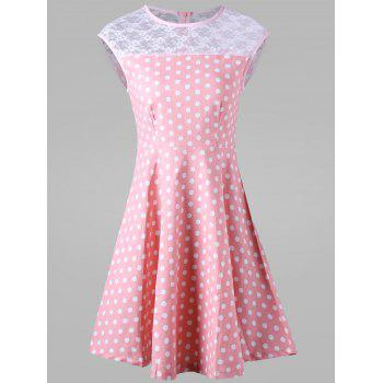 Lace Trim Polka Dot Casual Skater Dress