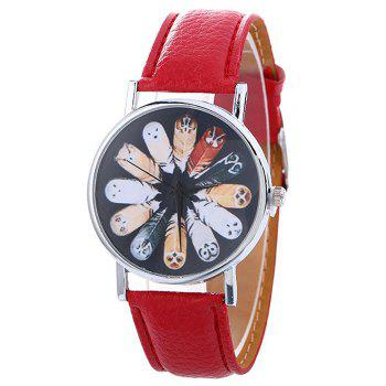Cartoon Feather Face Faux Leather Watch