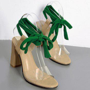 Lace Up Chunky Heeled Sandals - NUDE 37