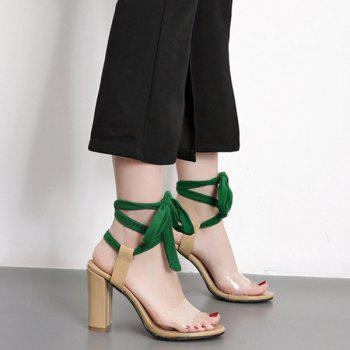 Lace Up Chunky Heeled Sandals - NUDE NUDE