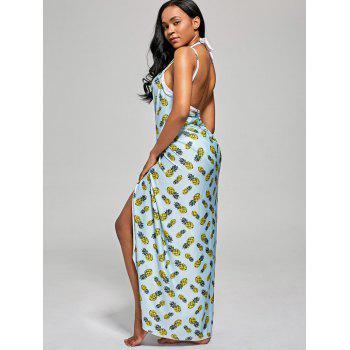 Pineapple Wrap Cami Cover Up Dress - LIGHT BLUE LIGHT BLUE