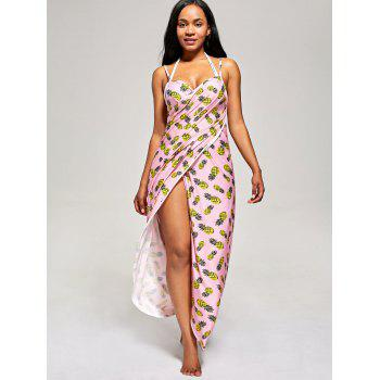 Pineapple Wrap Cami Cover Up Dress - PINK M