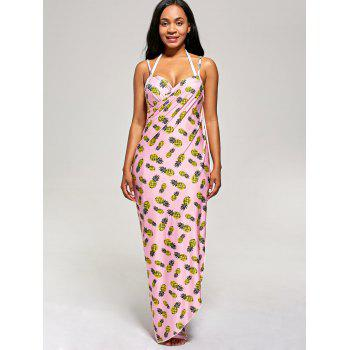 Pineapple Wrap Cami Cover Up Dress - PINK PINK