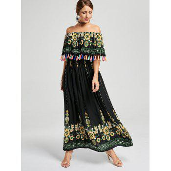 Tassel Off The Shoulder Boho Maxi Dress - Noir L