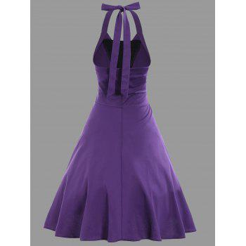 Halter Fit et Flare Plus Size Vintage Dress - Pourpre 4XL